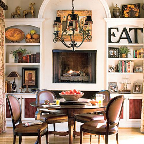 From Southern Living Raising The Fireplace Is Sooooo Smart In Many Situations Where It Dining Room FireplaceKitchen