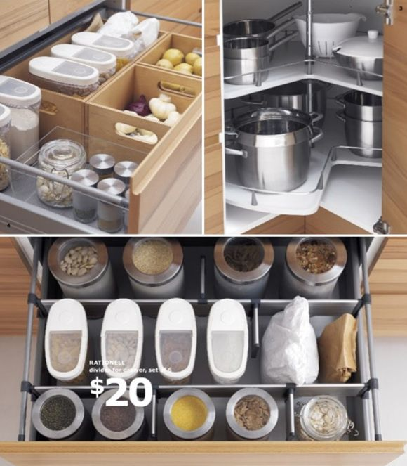 As anyone living in a pre-war era home knows, kitchen space is excruciatingly limited. Organization is a must. Ikea offers help for the space-challenged and financially strapped. :)