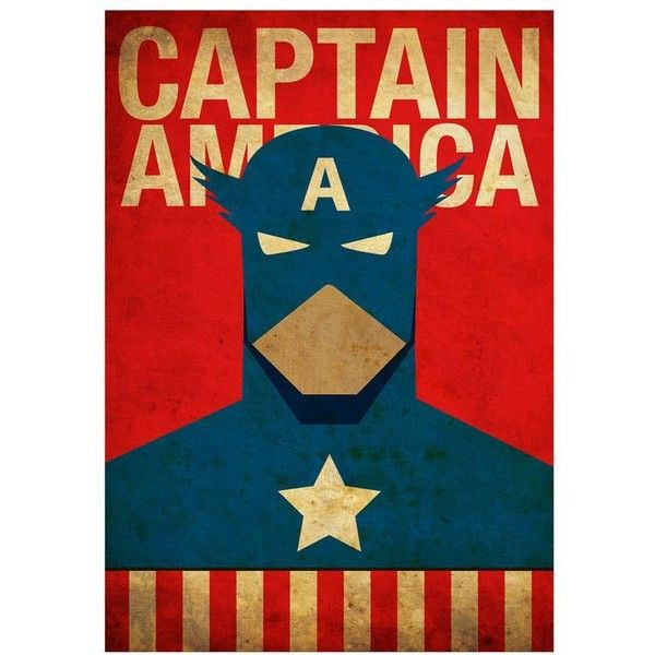 Vintage Minimalist Captain America Poster Prints ❤ liked on Polyvore featuring home, home decor, wall art, marvel, captain america poster and textured wall art