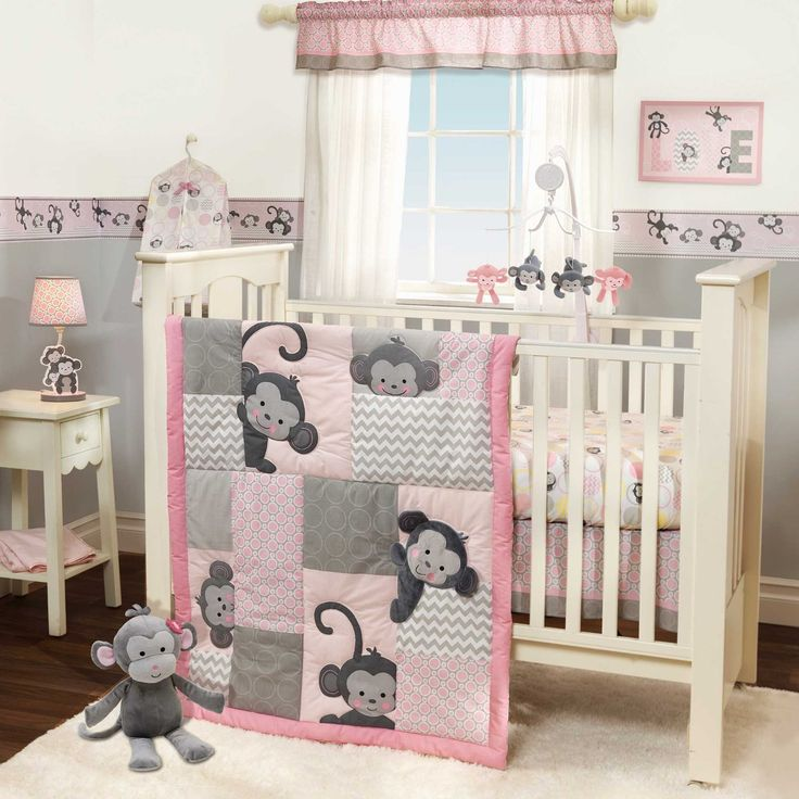 "Lambs & Ivy ""Pinkie"" - How Sweet can a nursery get? Adorable Monkey Theme with hot and trending Chevron details. See the complete set of Girls Monkey Crib Bedding at bedtimebaby.com"