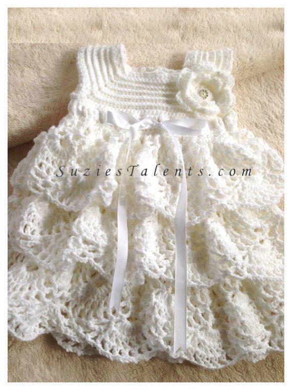 PATTERN.PT089A.12-24Months- Baby Alma Baptism Dress, Baby Dress, Baby Christening Dress, Crochet White Dress Pattern
