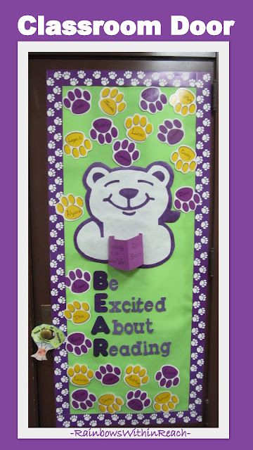 """Classroom Door Decoration with Bear Theme: """"Be Excited About Reading"""" (from series on doors + bulletin board ideas)"""