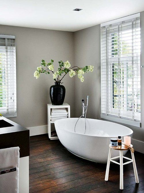 Gorgeous grey and wood bathroom