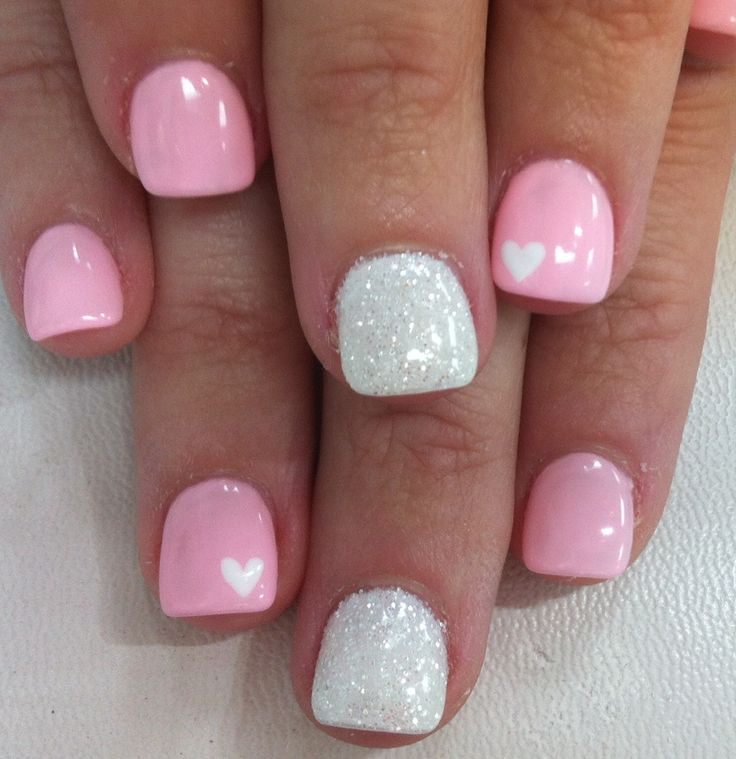 White heart on light pink and glitter