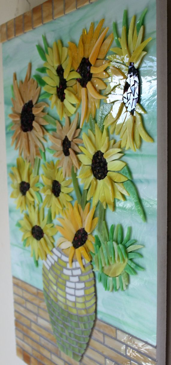 Vitrales mosaico girasoles flores Van Gogh