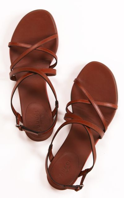 Praga brown leather multi-strap sandals