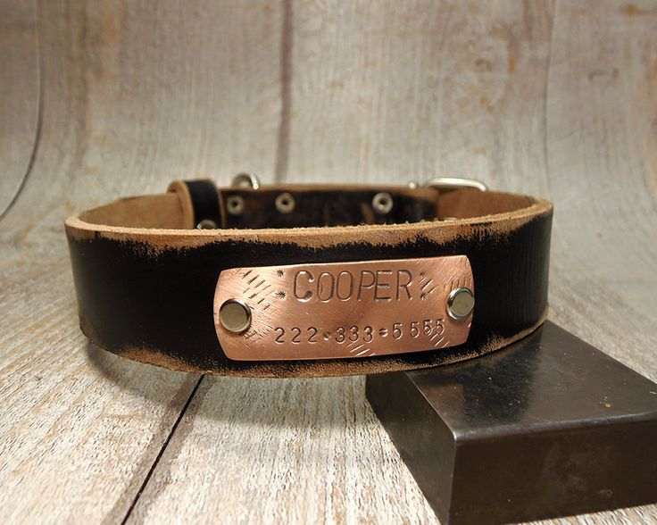 Dog Collar Large dog, used style leather, Leather dog collar, Dog Collar, Leather Collar, Personalized Dog Collar, Pet Gifts, Dog Name Plate by VacForPets on Etsy