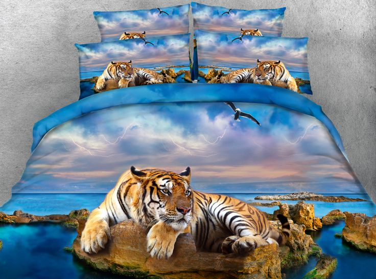 ==> [Free Shipping] Buy Best 3D Print Comforter Bedding Sets Twin Full Queen Super Cal King Size Bed Covers Bedspread Tigers Animals Oil Painting Adult Blue Online with LOWEST Price | 32768886065