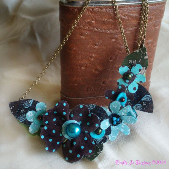 Necklace  Vintage Style Flowers. Turquoise Aqua by CraftyJoDesigns, £10.00