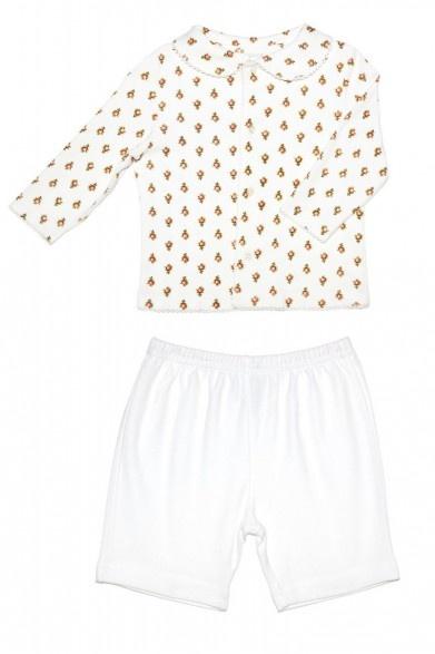 Enfant Cotton Rose Printed & White Pyjama Set