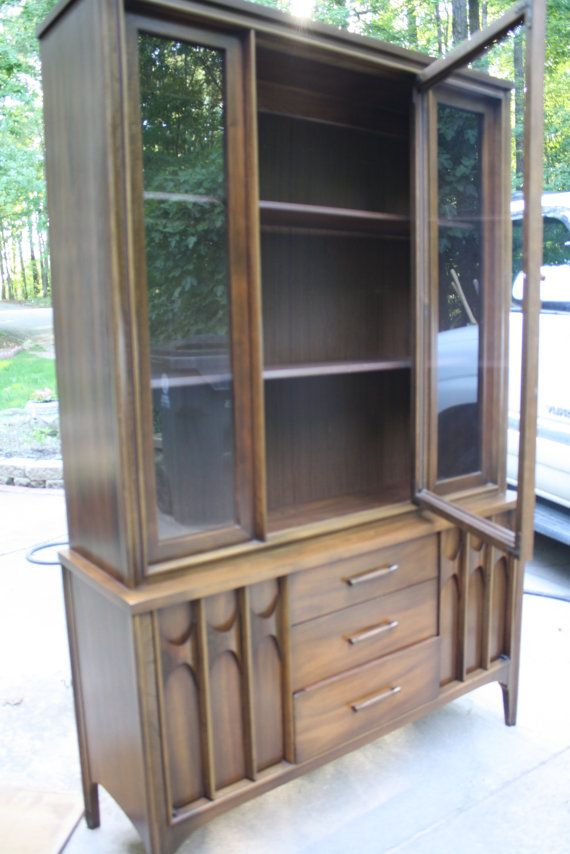 Kent Coffey Perspecta Like Brasilia Hutch China Cabinet Walnut Furniture Retro Glass Doors Dining Room