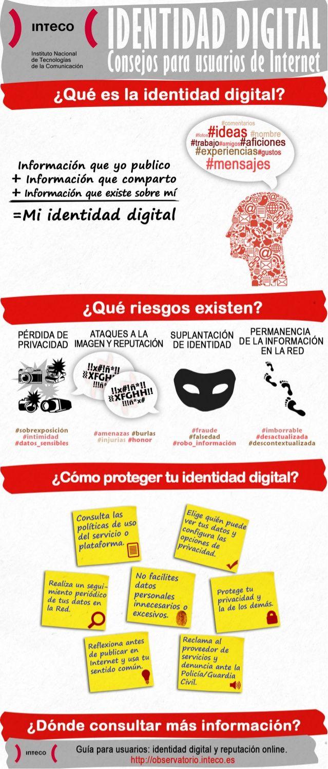 Hola: Una infografía sobre Identidad digital: consejos para usuarios de Internet. Vía Un saludo