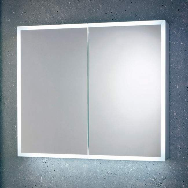 Harbour Glow Led Mirrored Cabinet With Demister Pad Shaver Socket 800 X 700mm Bathroom Mirror Cabinet Mirror Cabinets Led Mirror