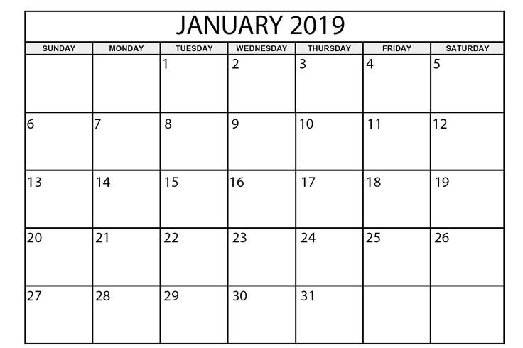 Free Printable Calendar January 2019 Academic Calendar 2019