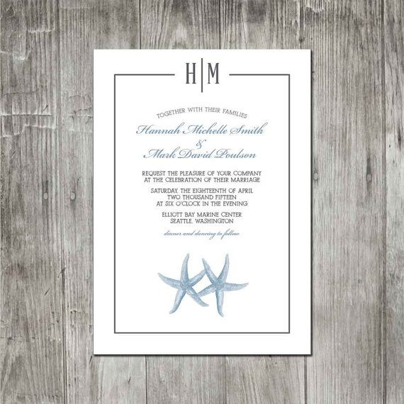 Beach Monogram Wedding Invitation Set Response Cards Thank You