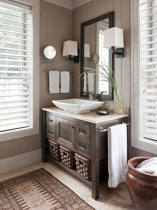 For bathrooms with privacy issues, particularly those on the ground floor, wood blinds are a slam-dunk design decision. They are easy to operate: simply twirl the wand to close or open. They also clean up with a quick dusting and can hold up to moisture in a wet room. Choose a finish that matches your window trim./