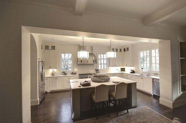 Studio U Shaped Kitchen With Floor To Ceiling White Shaker Kitchen