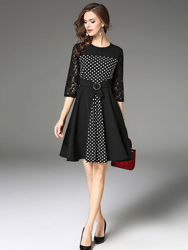 Black polka dots seethrough look aline midi dress