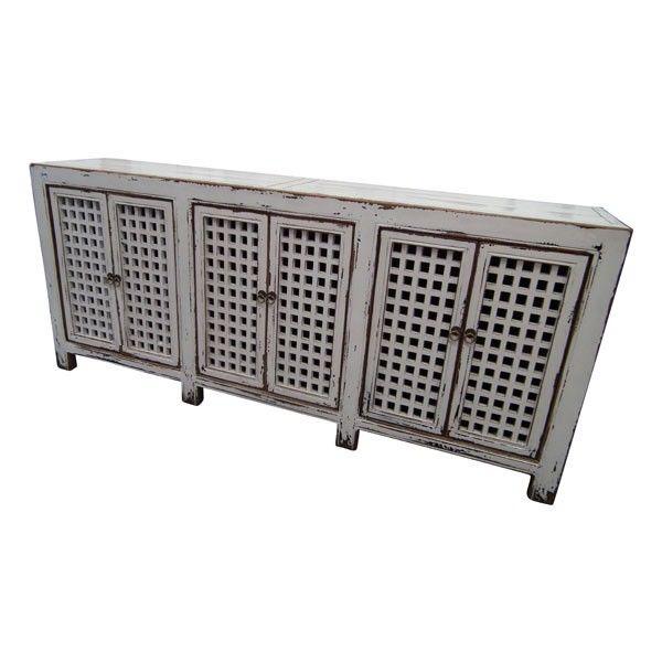 White Lattice 6 Door Cabinet