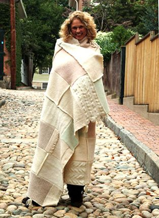 Love this recycled sweaters that were felted and sewn together. Great way to recycle wool sweaters