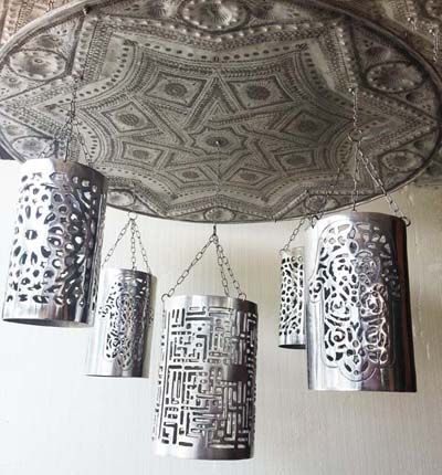 Great DIY chandelier idea  use tin cans or decorative metal sheets. 25 best images about Unique Chandelier on Pinterest    Lighting