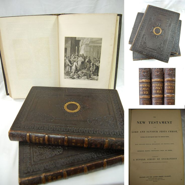 'Imperial Family Bible' circa 1850. This leather bound, gilt embossed, antique bible with illustrations comes in 3 volumes and is in beautiful condition. At €350 this one of our pricier, collector's items, kindly donated by a very generous supporter. https://www.oxfamireland.org/shop/oxfam-books-parliament-st