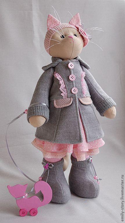 Купить Кошка Grace - серый, розовый, серо-розовый, текстильная игрушка, кошка из ткани, кошка