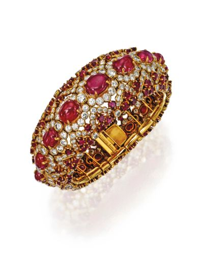 18 Karat Gold, Ruby and Diamond Bracelet, Van Cleef & Arpels, New York, Circa 1954   lot   Sotheby's
