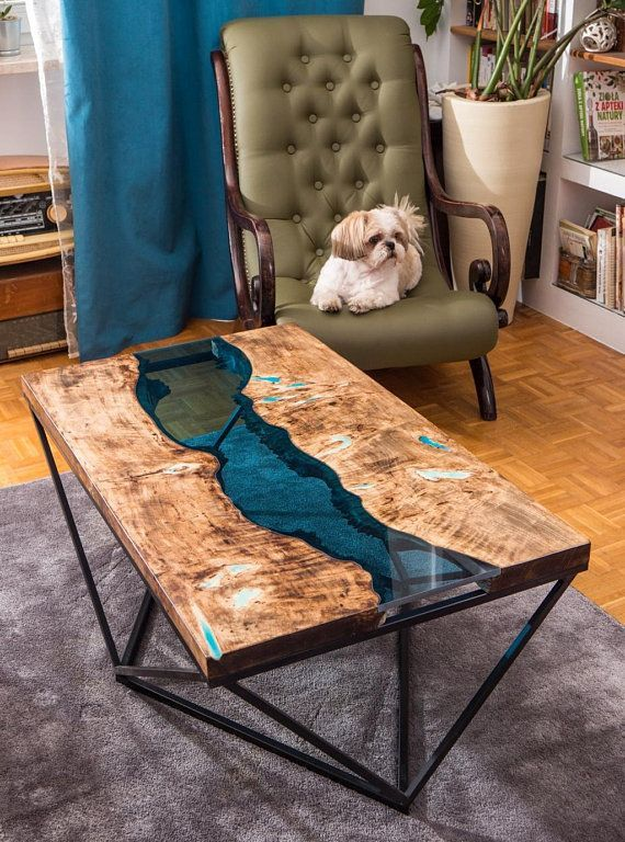 Live Edge River Coffee Table With Glowing Resin Wood Table Design Coffee Table Woodworking Furniture Plans
