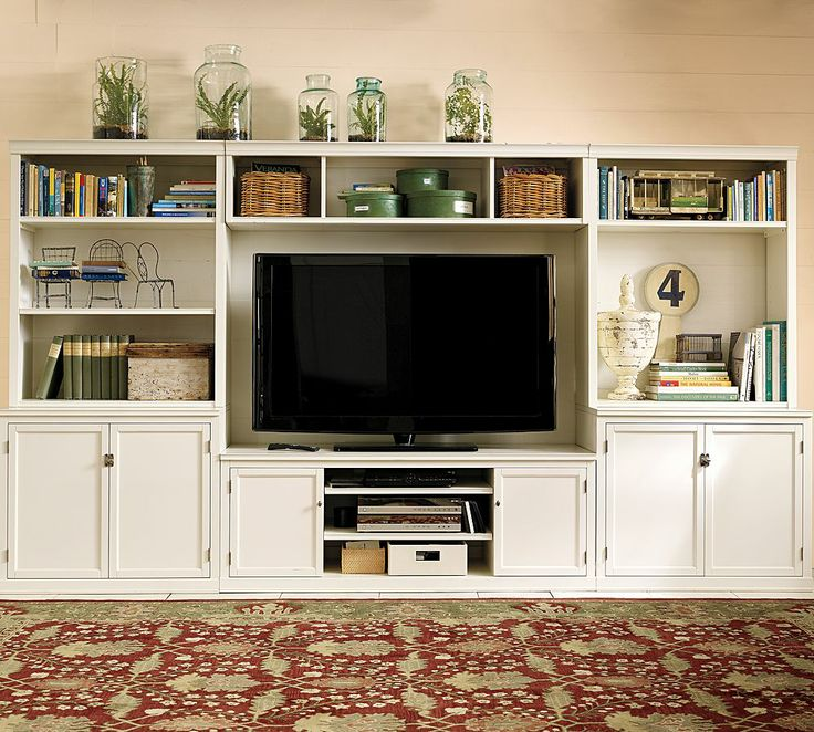 living room wall cabinets built%0A Logan Open Hutch Large Media Suite with Bridge  Antique White built in idea  in basement