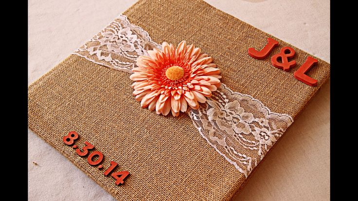 DIY guest book. We got a free shutterfly book but put our own touch to it but covering it with burlap
