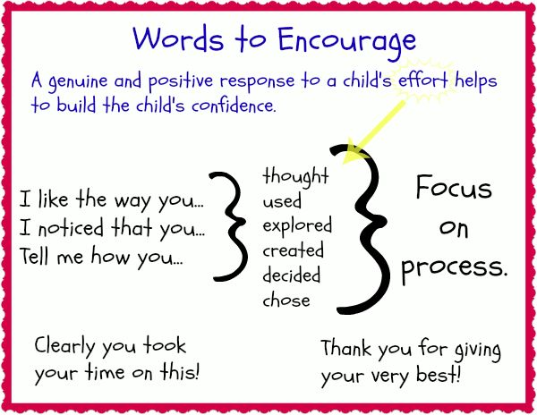 This is a good reference/reminder for ways to encourage children without becoming too repetitive.
