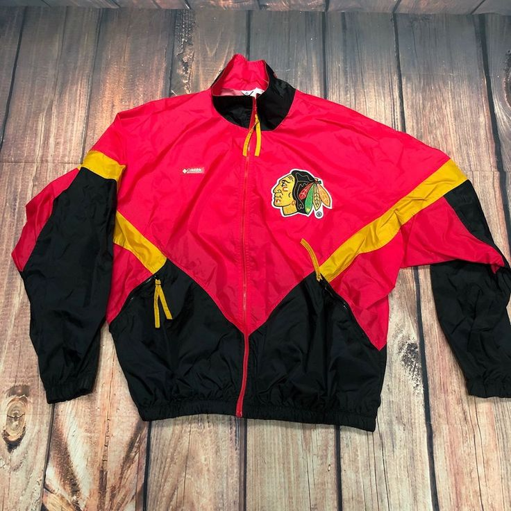 Columbia Sportswear Company Chicago Blackhawks Color Block Windbreaker Sz L VTG #ColumbiaSportswearCompany #Windbreaker