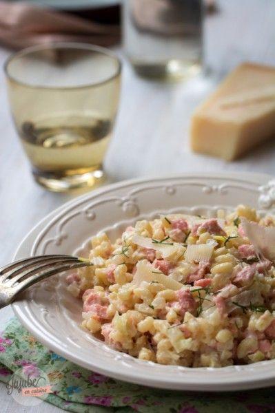 Risotto de coquillettes (saumon et poireau)