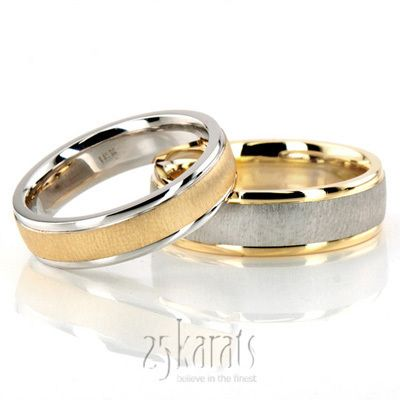 reverse matched wedding band set; silver and gold