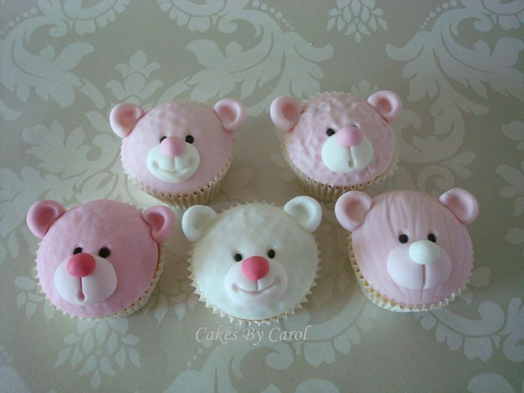 Pink Teddy Cupcakes - by cakesbycarol @ CakesDecor.com - cake decorating website