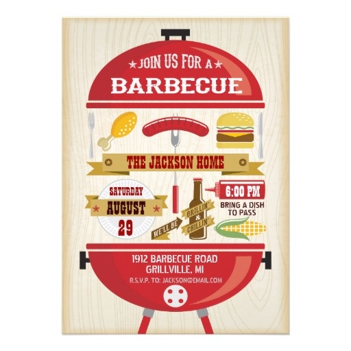 BBQ Party Invitation— A red kettle bbq grill with all the goodies for your barbecue party. Background has a distressed wood grain background. The back of the card features a cute picnic gingham tablecloth. Original Illustration by pj_design.