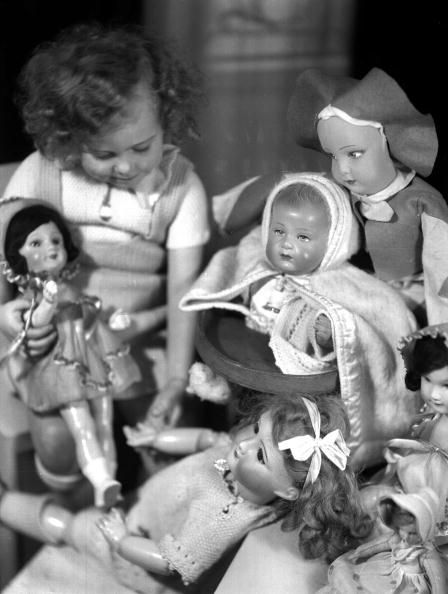 Girl playing the dolls, france, 1930's