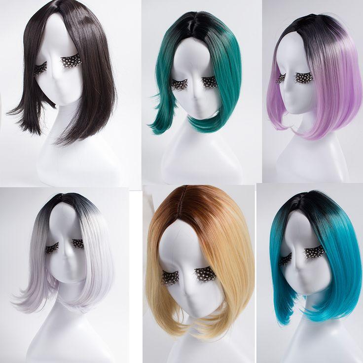 cosplay  Wig Half Platinum Blonde And Black Wig Thick Blunt Bob Wig Cosplay Hair Short Halloween Cosplay Costume Wig