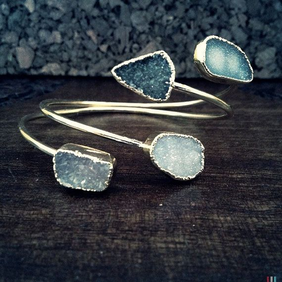 Hey, I found this really awesome Etsy listing at https://www.etsy.com/listing/183128493/double-druzy-banglegeometric-druzy-boho