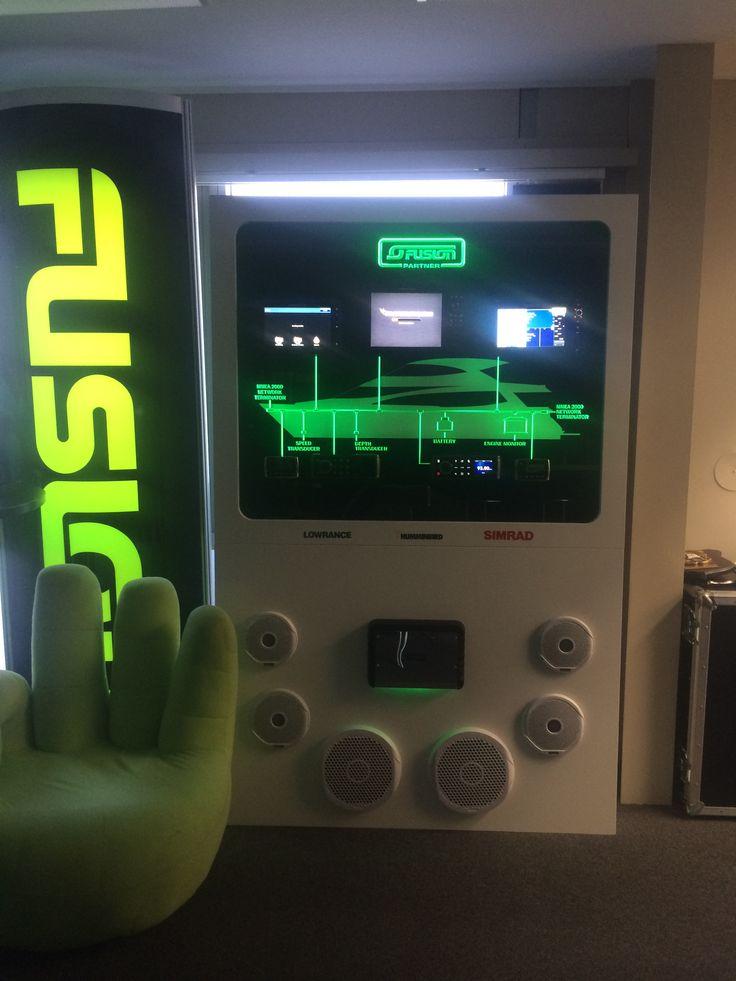 Fusion marine electronics and audio display. Edge lit acrylic. #ledlights