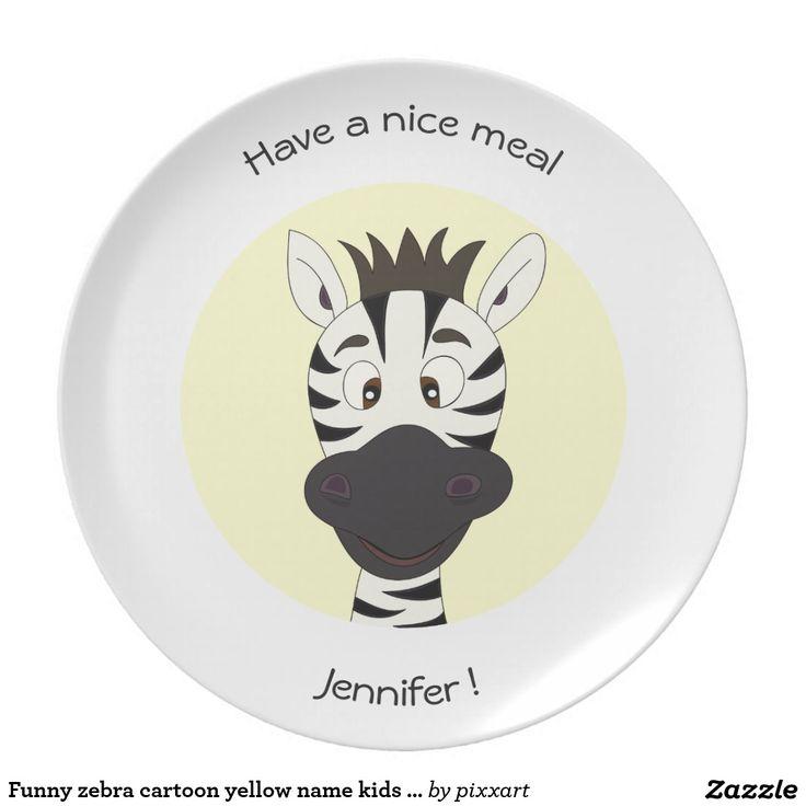 Funny zebra cartoon yellow name kids plate  sc 1 st  Pinterest & 59 best Dinner plates *Zazzle* images on Pinterest   Dinner plates ...