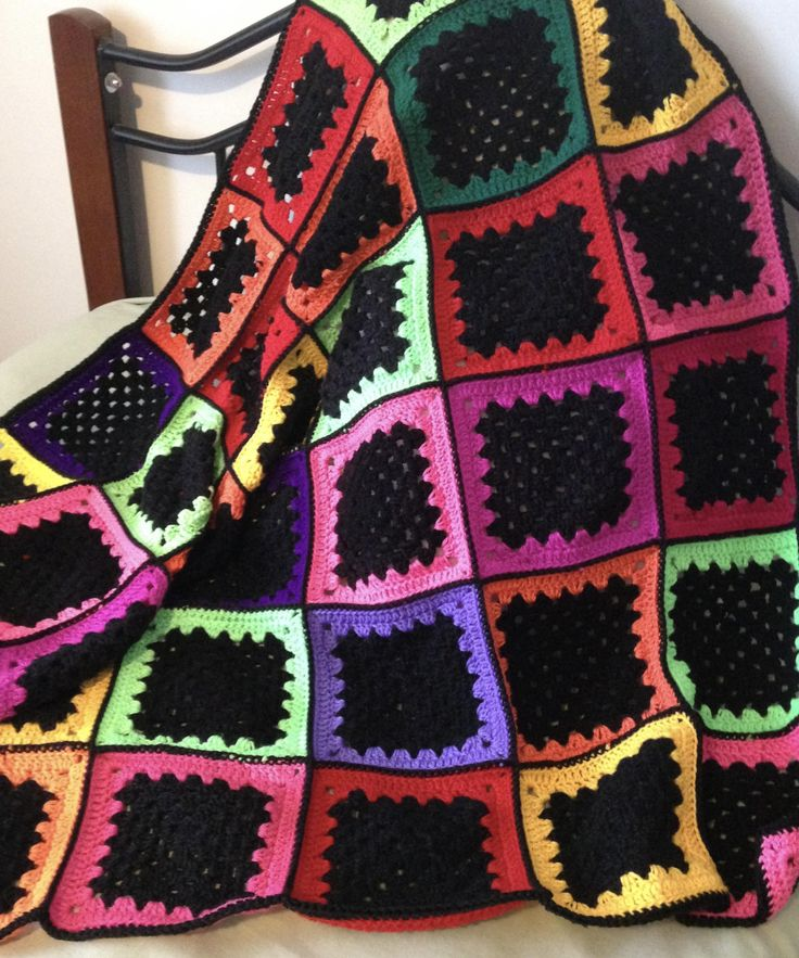 Bright Granny Square Crochet Afghan/Throw Rug by NoonansNook on Etsy