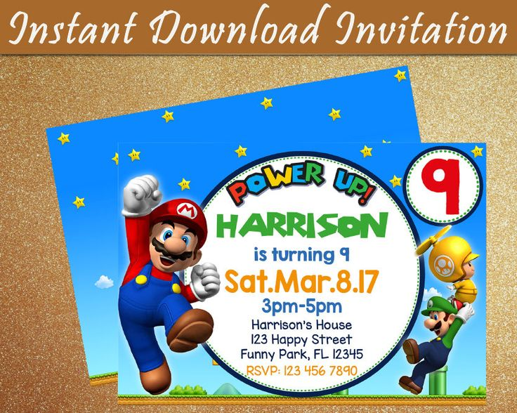 Mario Bros Invitation / Mario Bros Digital Invitation / Mario Bros Editable Invitation / Mario Bros Instant Download Invitation / Mario Bros DIY Invitation / Mario Bros Birthday Invitation  ════════════════════════════════════ 1. WHAT ARE YOU BUYING? ════════════════════════════════════ - Mario Bros Editable Digital Invitation, Instant Download, DIY Invitation. - Two sizes included: 7x5 and 6x4 - Includes background - Files are digital, no physical items will be sent....