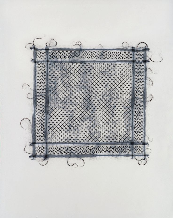 Mona Hatoum – Keffieh | 1993 - 1999 | human hair on cotton fabric | 120 x 120 cm