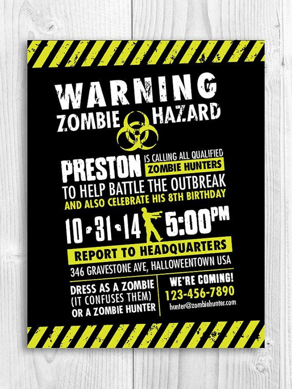 132 best images about zombie party on pinterest | halloween party, Birthday invitations