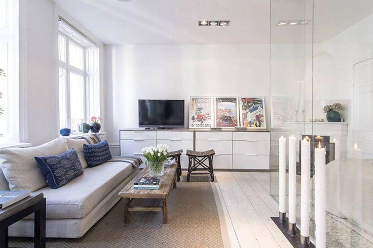 Małe mieszkanie w stylu skandynawskim - salon