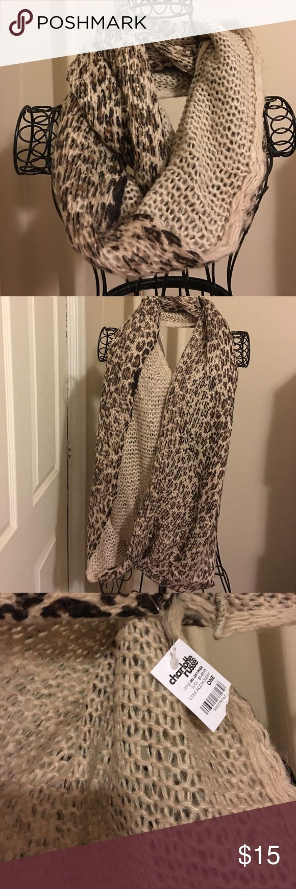 Super soft Charlotte Russe cheetah scarf Can wear around the shoulders, layered or long like a cowl necklace. Cheetah leopard animal print scarfs.  Soft beautiful knit.  New. Charlotte Russe Accessories Scarves & Wraps
