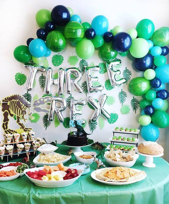 Three Rex Balloons – Three Rex Party Decor – Third Birthday Decor – Dinosaur Party Decor – Dinosaur Balloons – TRex Party Decor