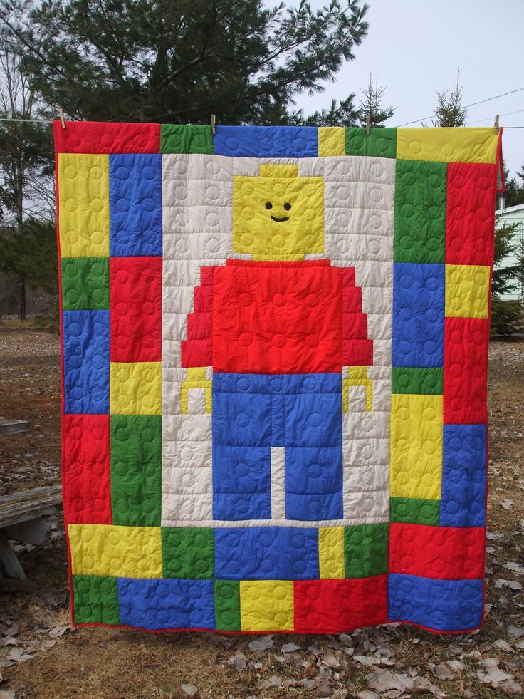 Twin Lego quilt finished Apr 2016